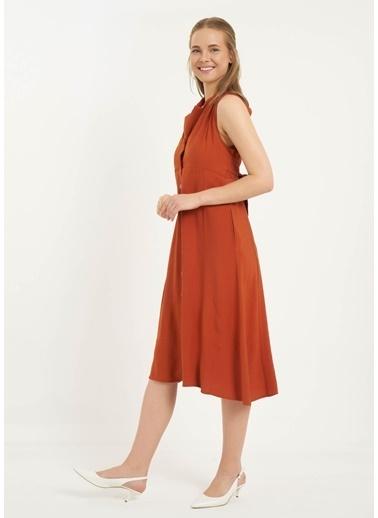 Tiffany&Tomato Ceket Yaka Sırt Dekolteli Kuşaklı Midi Keten Elbise-Hardal Taba